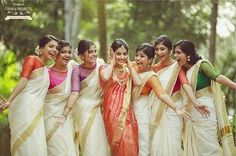 A wedding filled with love and friends- Modern blouses with Kerala Sarees