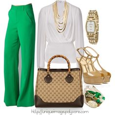 Green Wide-Leg Pants, created by uniqueimage on Polyvore