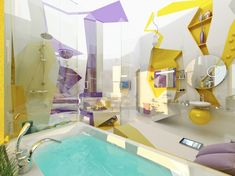 Modern purple yellow white bathroom design