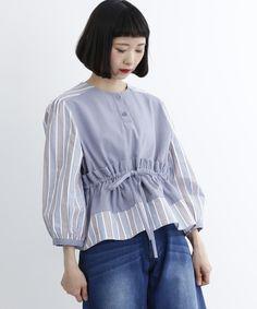 【ZOZOTOWN】merlot(メルロー)のシャツ/ブラウス「ストライプ柄ウエストギャザーフリルブラウス7360」(868713537360)を購入できます。