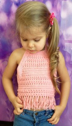 Items similar to Set of three crochet toddler top/ Red Pink Dark pink crochet halter top/ Baby crochet top/ Girl festival top/ Bohemian baby/ Fringel top on Etsy Crochet Toddler, Crochet Girls, Crochet Baby Clothes, Crochet For Kids, Crochet Halter Tops, Knit Crochet, Top Boho, Crochet Projects, Kids Outfits
