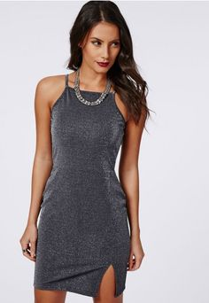 Standout this party season in this strappy #glittery #lurex dress in #pewter…