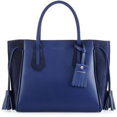 Longchamp Penelope Small Leather & Suede Tote Bag ($810) ❤ liked on Polyvore featuring bags, handbags, tote bags, blue, zipper tote, blue leather tote, leather tote bags, longchamp tote and handbags totes