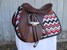 English AllPurpose Saddle Pad Red Black by ChestnutMareCrafts, $64.95
