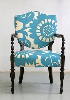 Up cycle old chairs with large print fabric. Don't see a full pattern repeat.:, but its still cute!