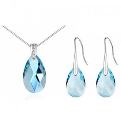 2016 New Women Jewelry Set Crystal from Swarovski Necklace Earring Sets White Gold Plated Long Water Drop Dangle Earrings 310