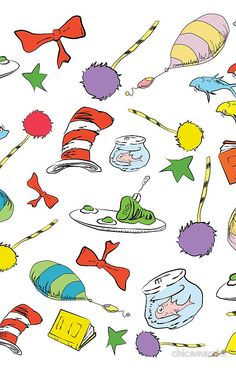 dr seuss pattern..  cat in the hat, lorax, oh the places you'll go,