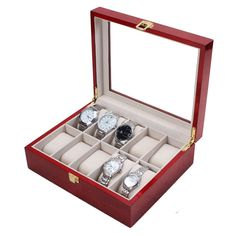 10 Slot Cherry Wood Watch Display Case Glass Top Jewelry Storage Box Gifts