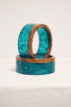 Resin & Rosewood Bangle GIFT PACK Metallic Emerald