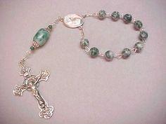 handmade tree agate single decade rosary
