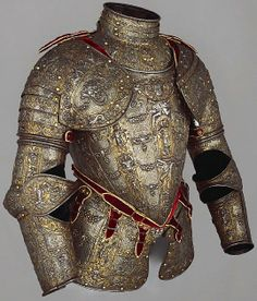Partial armour, Milan, Italy c. 1570 - 1590. This magnificent partial armour is embossed, gilt and damascened in gold and silver in the style developed by the armourer-goldsmith Lucio Marliani of Milan (Piccinino) and the draftsman Andrea Casalini of Parma in the 1570s. This kind of extremely elaborate armour would have only been worn for parades and other ceremonial occasions, made from relatively thin and soft metal offering little in the way of real protection, 10.9 kg. Wallace…