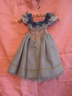 PK509/ Altes Puppenkleid Taftkleid mit Tüll um 1950