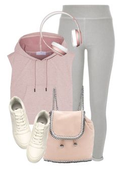 """""""Sporty Look"""" by monmondefou ❤ liked on Polyvore featuring River Island, adidas, H&M, STELLA McCARTNEY, rose, grey and sportswear"""