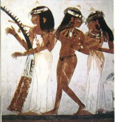 Harps were one of the most popular Ancient Egyptian instruments. They were developed from the hunting bow. Usually arc shaped and had 8-12 strings made from animal guts.    http://www.reshafim.org.il/ad/egypt/timelines/topics/music.htm (website)    Music and Musicians in Ancient Egypt by Lise Manniche (A documentation on Ancient Egypt's music and the study of the instruments played)