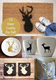13 Unique Deer Crafts for Fall - diycandy.com.  For some reason I love the mat and the pillow! Super cute!