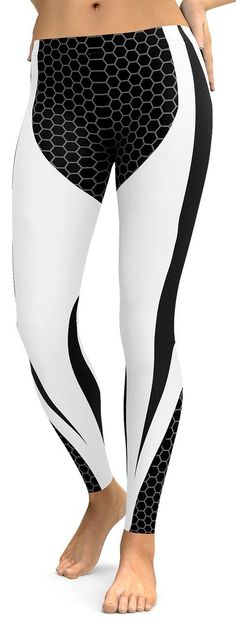Black & White Honeycomb Carbon Leggings