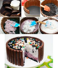 Candy Shop Ice Cream Cake Recipe 2 qt ice cream, any 2 flavors 2 TBS milk 39 kit-kat candy bars 16 oz whipped topping, frozen (like cool whip) 30 oreo cookies, broken up cup chocolate candies, assortment Ice Cream Desserts, Frozen Desserts, Ice Cream Recipes, Diy Ice Cream Cake, Frozen Treats, Yummy Treats, Delicious Desserts, Sweet Treats, Cupcakes