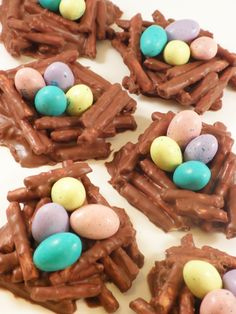 Bird nests made with chocolate covered pretzel.