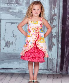 This White & Yellow Iris Olivia Dress - Infant, Toddler & Girls by Jelly the Pug is perfect! #zulilyfinds