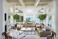 Sunroom Decorating and Design Ideas. Get inspired with clever layout and pretty fabrics, furniture, and accents to transform your sunroom into the most-used room in your house. Tags: sunroom design ideas, sunroom furniture, floor to ceiling windows Sunroom Furniture, Furniture Layout, Outdoor Furniture Sets, Arrange Furniture, My Living Room, Living Spaces, Cottage Living, Coastal Cottage, Living Area