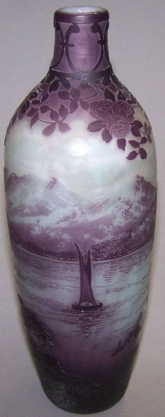 DEVEZ CAMEO GLASS VASE. Cut purple to frost with architectural and mountain landscape scene
