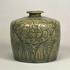 From Our Collection|The Museum of Oriental Ceramics,Osaka. Celadon With Carved Peony Scrolls Design.  Northern Song Dynasty 11th-12th Century h.16.7cm Gift of SUMITOMO Group the ATAKA Collection. IMPORTANT CULTURAL PROPERTY.