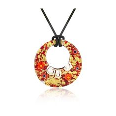 Akuamarina Designer Necklaces Lily - Gold Murano Glass Pendant... ($69) ❤ liked on Polyvore featuring jewelry, necklaces, murano glass, red pendant, gold jewelry, gold jewellery, murano glass pendants and colorful necklaces