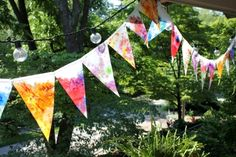 Melt crayons to make these beautiful sun catcher banners.