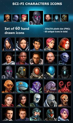 Sci-Fi Characters Icons Download link: https://graphicriver.net/item/scifi-characters-icons/19848142?ref=KlitVogli