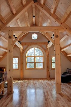 My preferred wood for a timber frame home -- light and cheery.