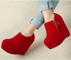 Bright Red Side Zipper Wedge Heel Ankle Boots $77.87