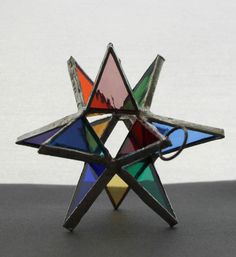 Moravian Star Iridescent Stained Glass Christmas Ornament Sun Catcher