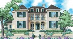 Country Style House Plan - 5 Beds Baths 3578 Sq/Ft Plan Eplans French Country House Plan - The French Manor - 3578 Square Feet and 5 Bedrooms(s) from Eplans - House Plan Code French Country House Plans, European House Plans, French Country Bedrooms, French Cottage, French Country Style, French Country Decorating, French Provincial Home, Custom Home Plans, Exterior