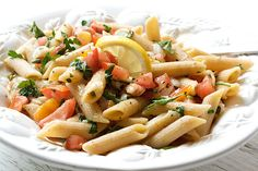 Fresh Summer Tomato Pasta with Lemon, Garlic and Capers | Spoon With Me
