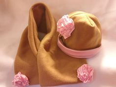 Tan Winter Fleece Baby and Toddler Hat and Scarf by BabyHatIsland, $24.00