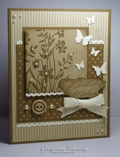 handmade card ... monochromatic olive tones ... layers of patterned paper ... adorned with butterflies, pearls, button & bow ... Stampin' Up!