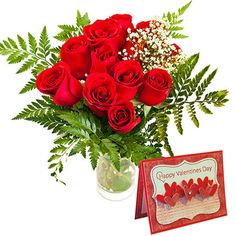 12 Red Roses Vase With Valentine s Greeting Card