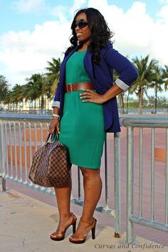 Curves and Confidence Miami Fashion, Work Fashion, Curvy Fashion, Plus Size Fashion, Look Office, Casual Office, Office Attire, Office Style, Office Wear