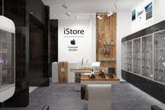 "Apple store ""yabko"" interior design new shop in 2019 loja ce Display Shop, Mobile Shop Design, Shop Counter Design, Apple Store, Vitrine Design, Phone Shop, Retail Store Design, Store Interiors, Shop Front Design"