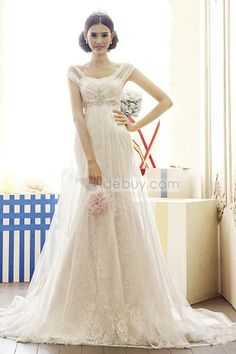 Gorgeous Capped Mermaid Empire Beads Court Train Lace Wedding Dress : Tidebuy.com