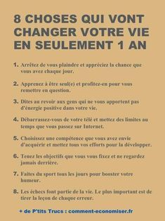 Motivation Quotes : 8 Choses Qui Vont Changer Votre Vie En Seulement 1 An. - About Quotes : Thoughts for the Day & Inspirational Words of Wisdom Vie Positive, Positive Mind, Positive Attitude, Positive Affirmations, Positive Vibes, New Quotes, Inspirational Quotes, Motivational, Life Quotes