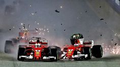 2017 Singapore Grand Prix - Ferrari had never had two cars eliminated on the first lap of a Grand Prix in 70 years of their illustrious history. To add insult to injury, Ferrari drivers Raikkonen and Vettel ran into each other. #F1 #Formula1 #SingaporeGP #MarinaBay #ScuderiaFerrari #Seb5 #Kimi7