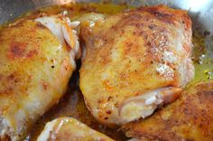 Crockpot Chicken Thighs- bone-in, skin-on roast with potatoes, carrots, and seasonings