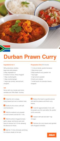 "this main course recipe from Blum's agency in South Africa: Durban prawn Curry. The special thing about this recipe is that it is a typical Durban curry with an Indian influence. Serve with rice, tomato and onion sambals and ""Mrs Balls"" chutney. Prawn Recipes, Spicy Recipes, Curry Recipes, Seafood Recipes, Indian Food Recipes, Cooking Recipes, South African Dishes, South African Recipes, Indian Dishes"