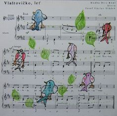 PTÁČCI ZPĚVÁČCI - zakomponovat kresby ptáků do notového zápisu (kresba pastelkou)