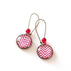 Red Chevron Earrings Zig Zag Earrings Geometric by JujuTreasures, $19.00