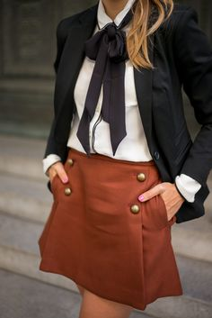 Tailored for Fall,wearing Express and a black long bow tie