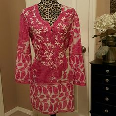 Magenta Tunic with White Embroidery Lovely top with paisley design, Jari embroidery at neckline and flared sleeves. Simi Tops Tunics