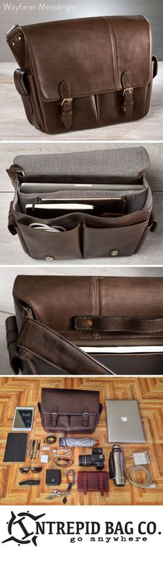 "Versatile Leather Messenger Bag For 15"" Laptops In stock now. Get em while they are hot! The Wayfarer Messenger bag is swimming with space and versatility for modern day explorers. The big brother of"