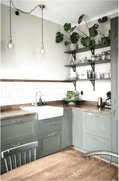 Shop the look: olive-green kitchen with wood - Kitchen - Kitchen Interior, Interior, Kitchen Remodel, Kitchen Decor, Cheap Home Decor, Home Kitchens, Modern Farmhouse Kitchens, Olive Green Kitchen, Kitchen Design